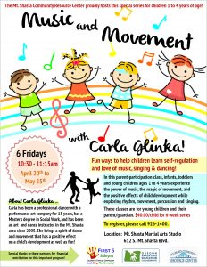 Music and Movement with Carla Glinka! @ Mt. Shasta Martial Arts Studio