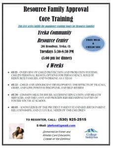 Resource Family Approval Core Training @ Yreka Community Resource Center