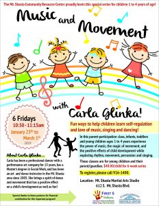 Music and Movement with Carla Glinka! @ Mt. Shasta Martial Arts Studio